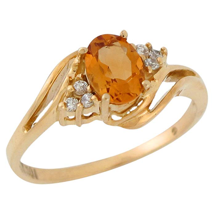 10k Yellow Gold Natural Citrine and White Topaz Lovely Bypass Style Ladies Ring