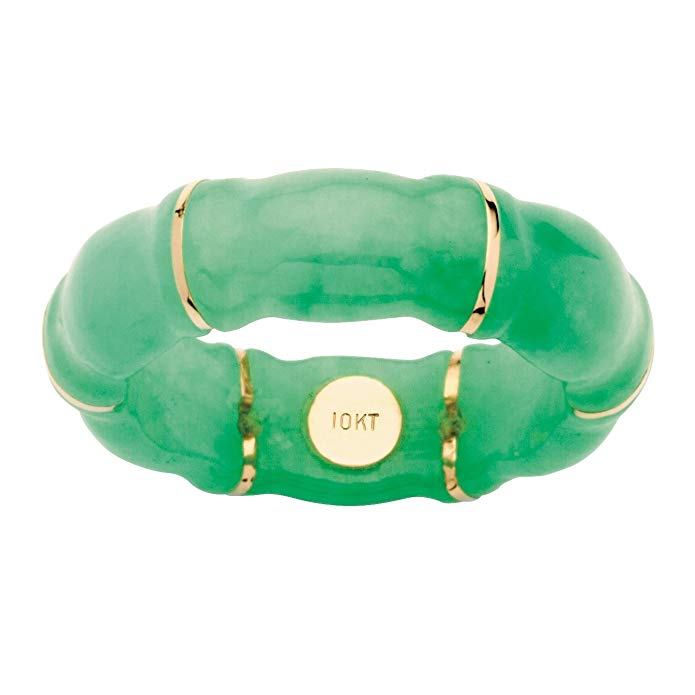 Green Genuine Jade Bamboo Ring with 10k Yellow Gold Accents