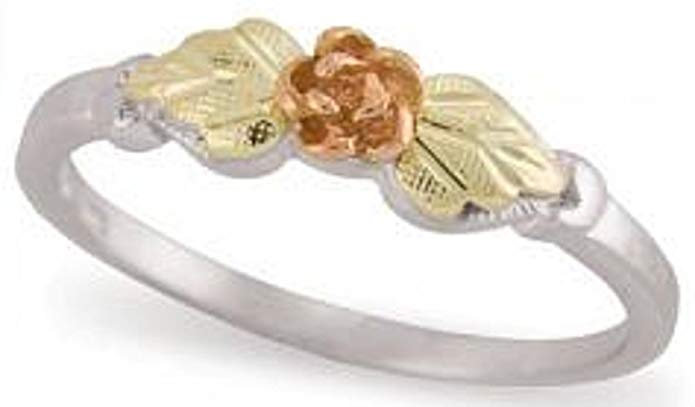 Black Hills Gold Silver Rose Ring