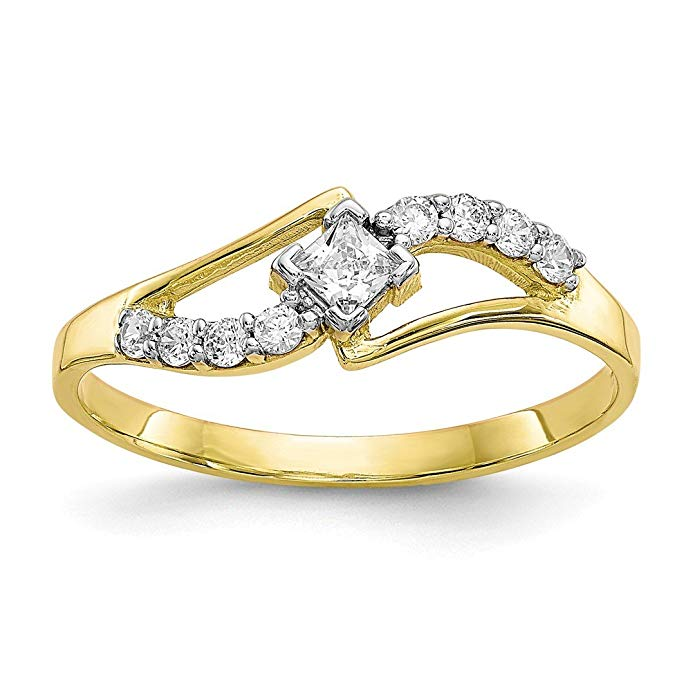ICE CARATS 10kt Yellow Gold Cubic Zirconia Cz Band Ring Fine Jewelry Ideal Gifts For Women Gift Set From Heart