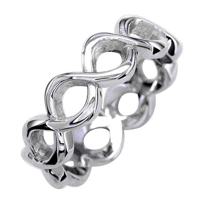 Full Infinity Ring, Eternity Style, 6mm Wide in Sterling Silver