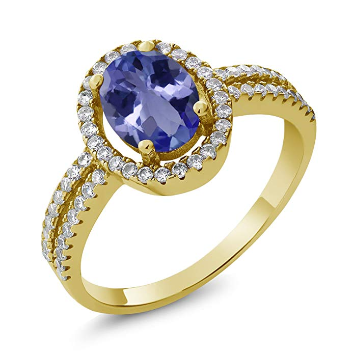 1.92 Ct Oval Blue Tanzanite 18K Yellow Gold Plated Silver Ring