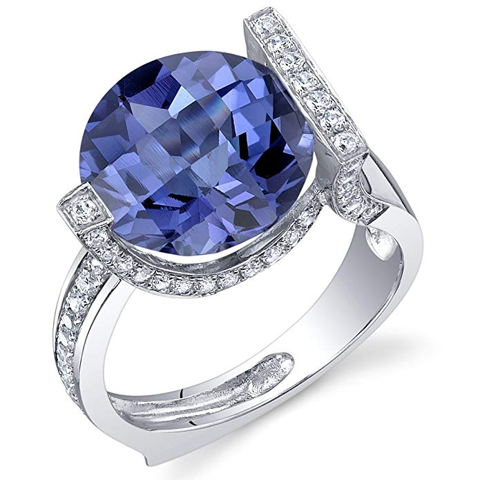 7.00 Carats Simulated Alexandrite Artistic Ring Sterling Silver Checkerboard Cut Sizes 5 to 9