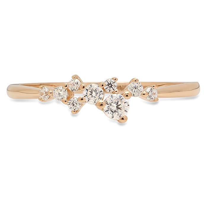 Clara Pucci 0.28 ct Brilliant Round Cut CZ Designer cluster Pyramid Ring Band in 14K Yellow Gold