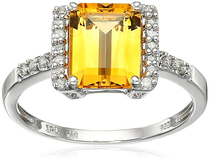 Sterling Silver Citrine and Diamond Octagon Ring (1/8 cttw, I-J Color, I2-I3 Clarity), Size 7
