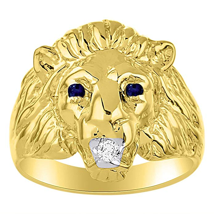Lion Head Ring set with Genuine Diamond in mouth & Natural Sapphires in eyes Yellow Gold Plated over Silver .925