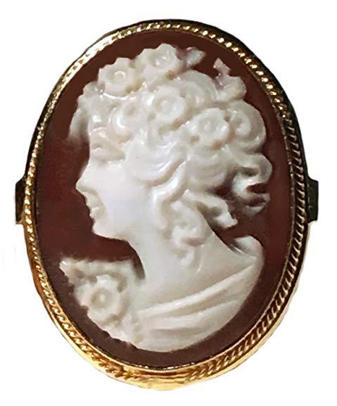 Cameo Ring Master Carved, Princess Sardonyx Shell 925 Sterling Silver 18k Gold, Italian Size 8