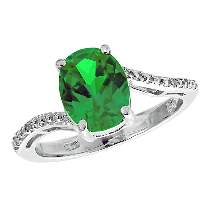 Sterling Silver Lab-created Emerald Ring with Diamond Accent Ring
