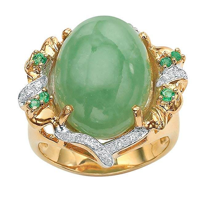 Genuine Green Emerald, Jade and Cubic Zirconia Accent Gold Tone over .925 Silver Oval Ring