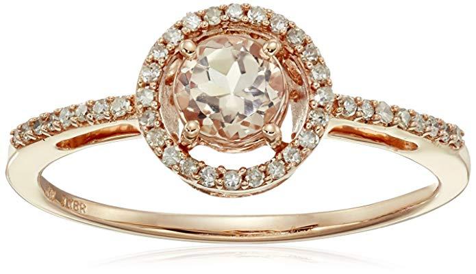 10K Rose Gold Morganite Round with Diamond Halo Ring, Size 6