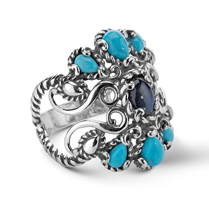 Carolyn Pollack Jewelry - Sterling Silver, Labradorite, and Turquoise Ring - Sizes 5 through 10 - CP Signature Collection