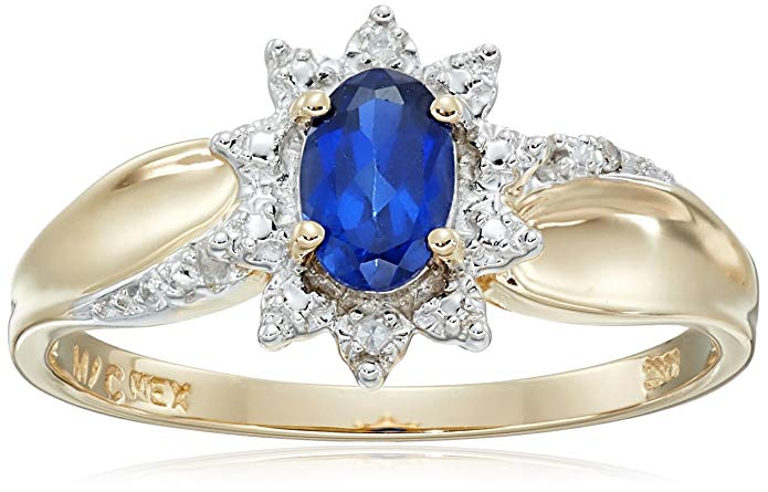 10k Yellow Gold Oval Gemstone and Diamond Accent Ring, Size 7