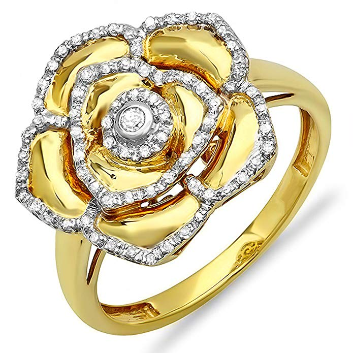 0.25 Carat (ctw) 18k Yellow Gold Plated Sterling Silver Diamond Cocktail Right Hand Flower Ring 1/4 CT
