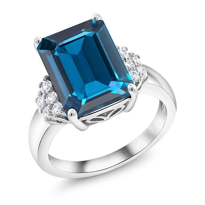 8.80 Ct Emerald Cut London Blue Topaz 925 Sterling Silver Ring