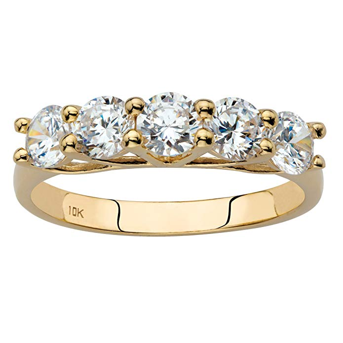 Solid 10k Yellow Gold Single Row Ring, Round Cubic Zirconia