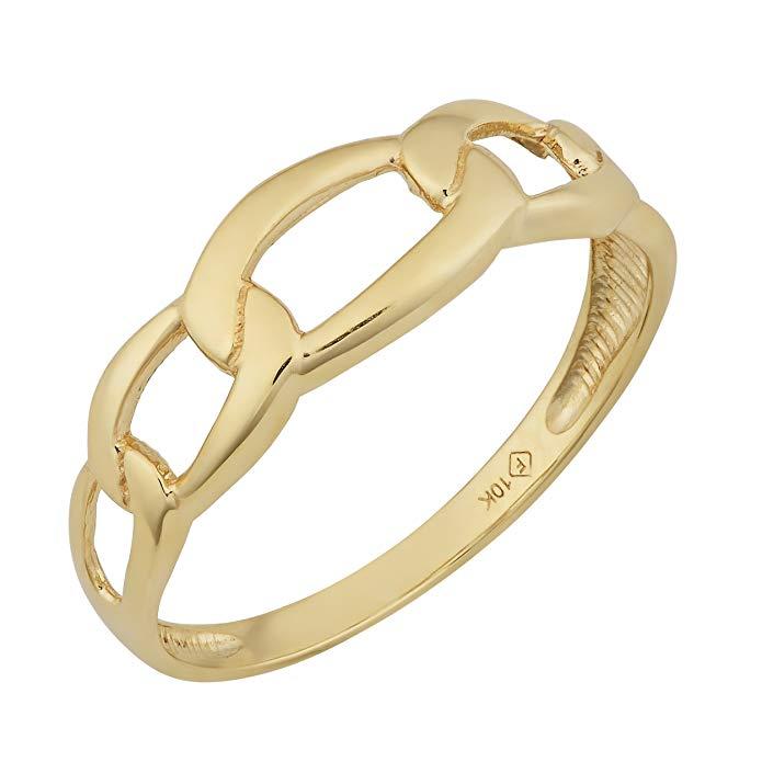 Kooljewelry 10k Yellow Gold Figaro Ring