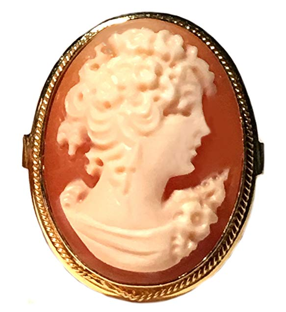 Cameo Ring Reflection of Youth Master Carved, Shell Sterling Silver 18k Gold Overlay Italian Size 8.5