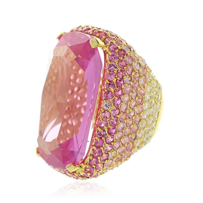 31TCW Pink CZ Chunky 14K Gold Plated Cocktail Ring