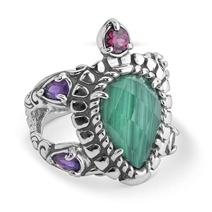 Carolyn Pollack - Sterling Silver, Malachite, Rhodolite Garnet Ring - 5 to 10 - Natural Beauty Collection