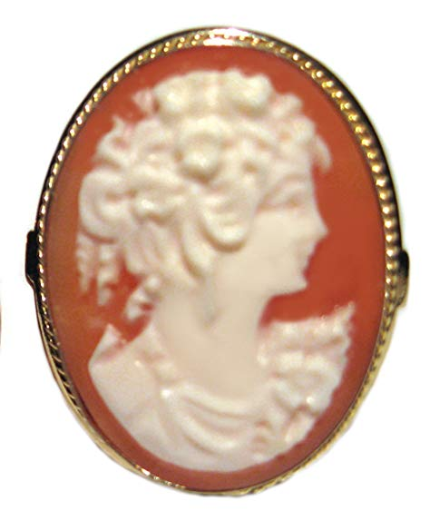 Cameo Ring Size 8.5 Master Carved, 925 Sterling Silver 18k Gold Overlay, Carnelian Conch Shell, Italian, New