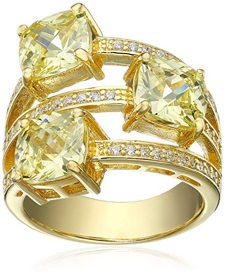 Charles Winston Sterling Silver Cubic Zirconia 3-Row Ring