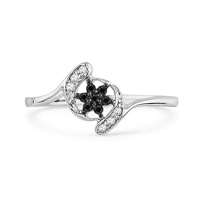 10KT White Gold Black and White Round Diamond Twisted Fashion Ring (1/10 cttw)