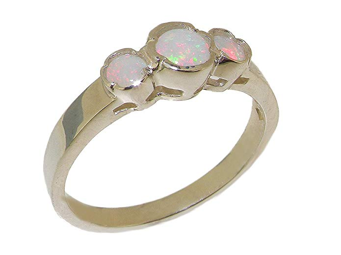 925 Sterling Silver Real Genuine Opal Womens Trilogy Anniversary Ring