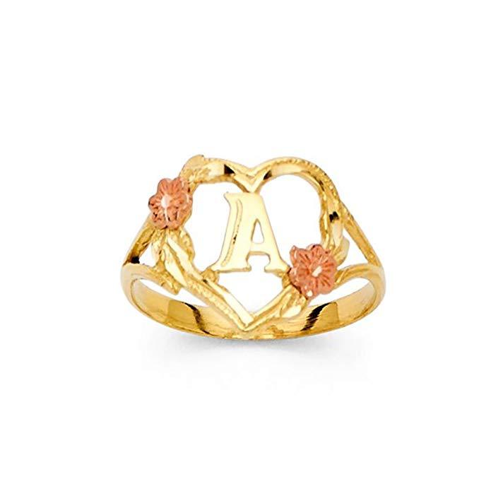 14K Tri-Color Gold Initial Ring Letter