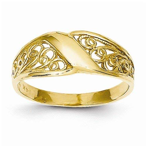 Solid 14k Yellow Gold Polished Filigree Ring (2 to 7 mm)