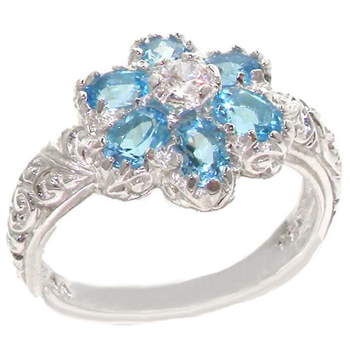 925 Sterling Silver Cubic Zirconia and Real Genuine Blue Topaz Womens Band Ring