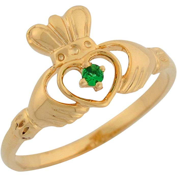 14k Yellow Gold Simulated Emerald Claddagh Designer Inspired Special Ladies Ring