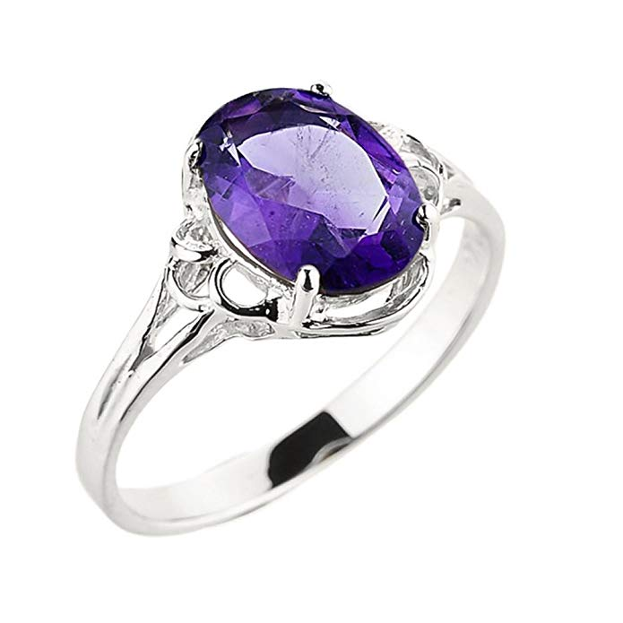 Solid 10k White Gold February Birthstone Genuine Amethyst Gemstone Ring