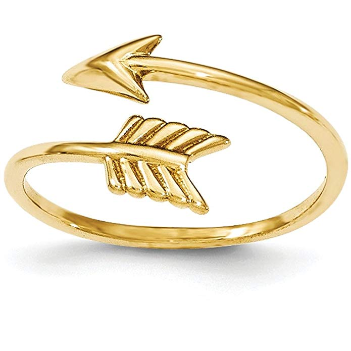 14k Yellow Gold Adjustable Arrow Ring