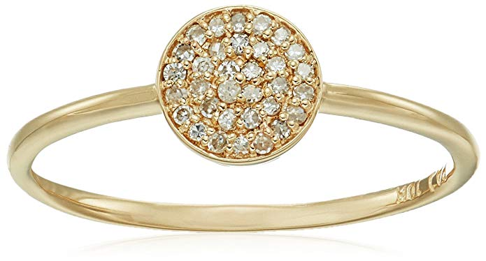 10k Yellow Gold Diamond Pave Disc Ring (1/10cttw, I-J Color, I2-I3 Clarity), Size 7