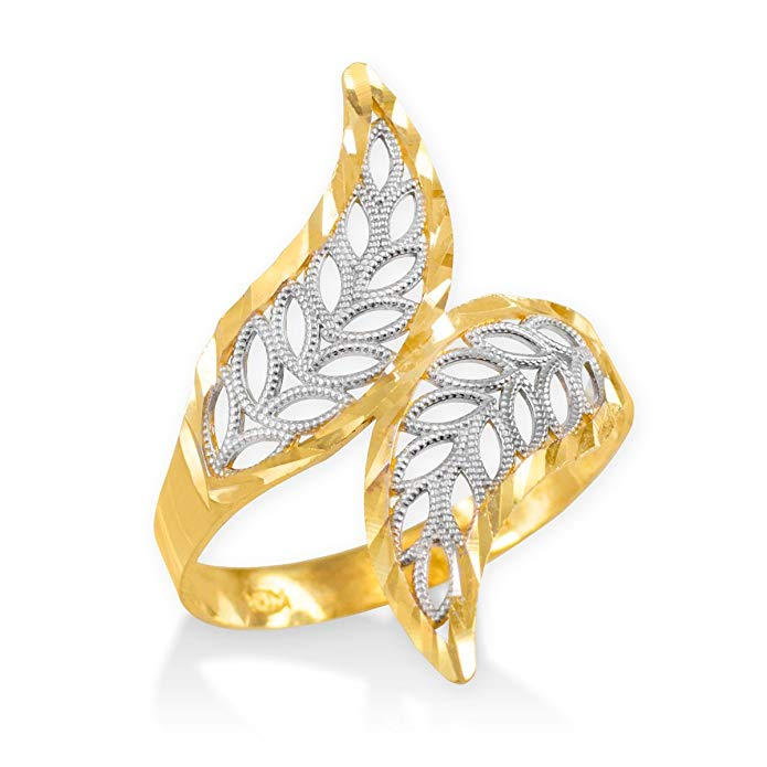 High Polish 14k Two-Tone Gold Double Leaf Filigree Cocktail Ring