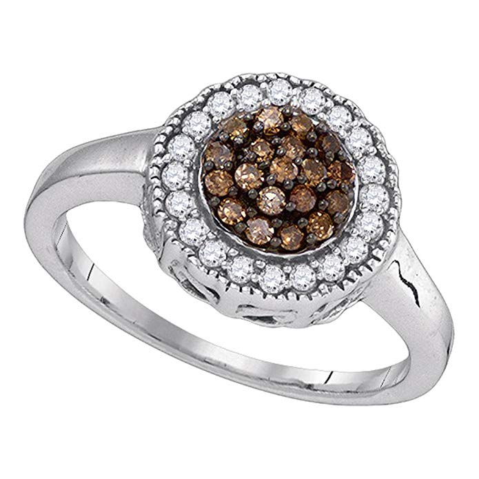 Brown Diamond Flower Ring Sterling Silver Round Halo Band Chocolate Cluster Style Milgrain Edge 1/3 ctw