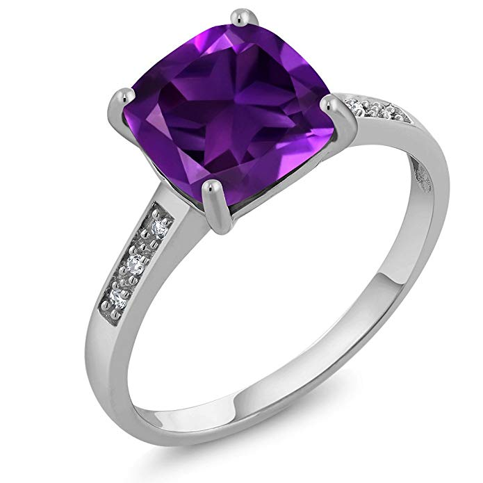 10K White Gold Purple Amethyst and Diamond Women's Ring 2.05 cttw 8mm Cushion Cut Center (Available 5,6,7,8,9)