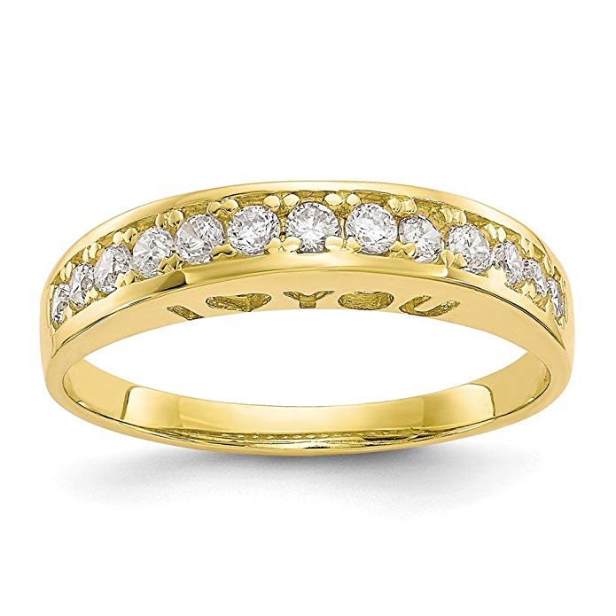 10k Yellow Gold I Love You Forever Synthetic CZ Ring
