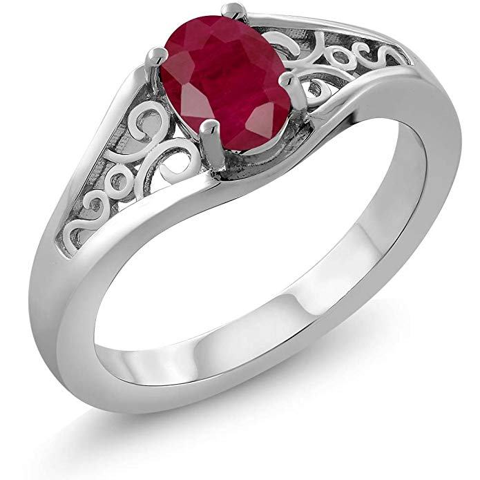 925 Sterling Silver Red Ruby Women's Ring 1.02 Ct Oval (Available 5,6,7,8,9)