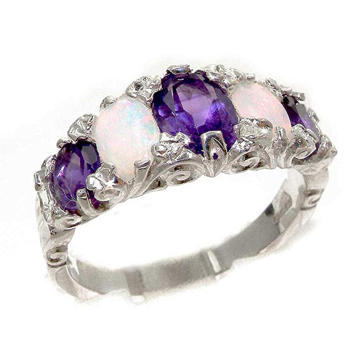 925 Sterling Silver Real Genuine Amethyst and Opal Womens Band Ring