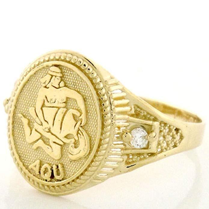 10k Solid Yellow Gold Zodiac CZ Ring - Aquarius