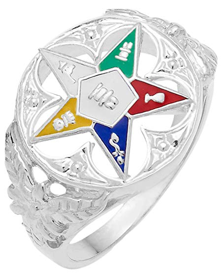 US Jewels And Gems Ladies 0.925 Sterling Silver or Vermeil Masonic Freemason Eastern Star Ring