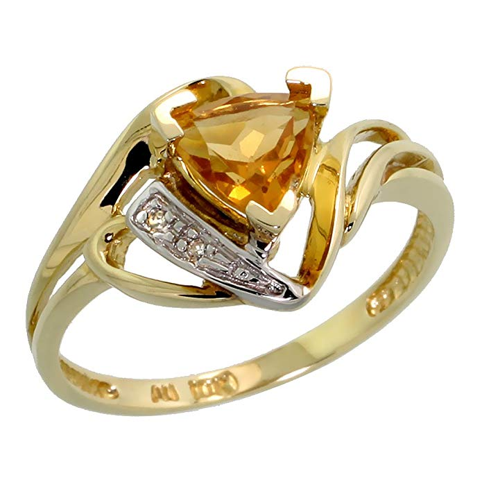 10k Gold Diamond Natural Citrine Ring Trillium Cut 6mm November Birthstone 1/2 inch wide, sizes 4 - 9