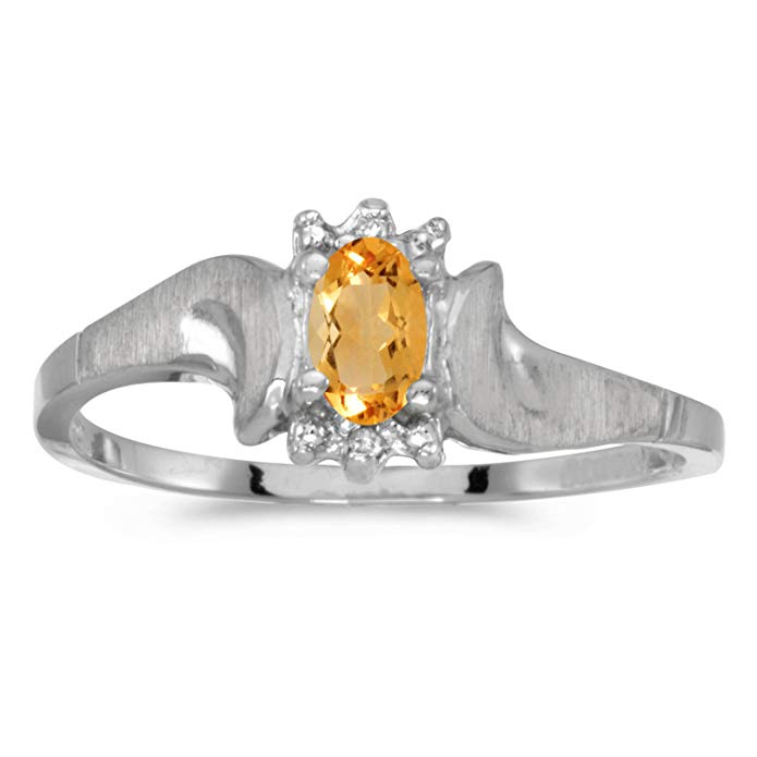 10k White Gold Oval Citrine And Diamond Satin Finish Ring