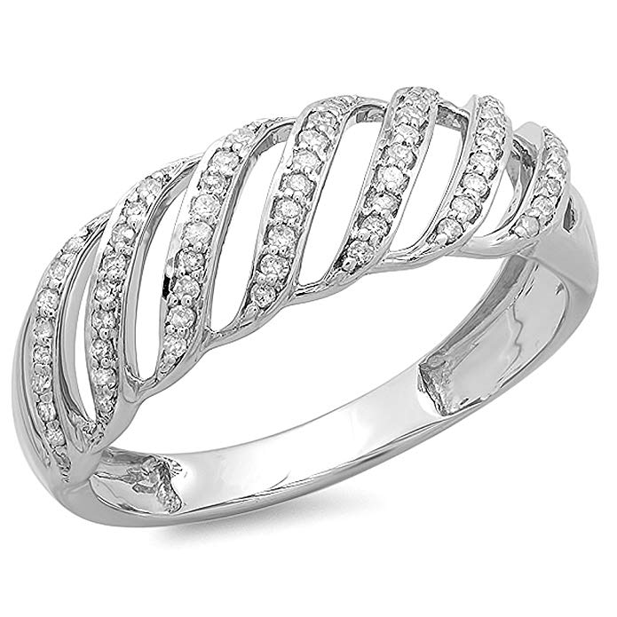 0.30 Carat (ctw) Sterling Silver Round Diamond Ladies Cocktail Band Ring 1/3 CT