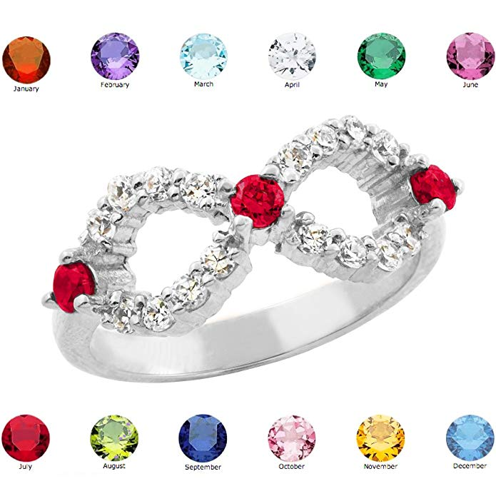 Fine 10k White Gold Personalized Mix-and-Match CZ Birthstone Infinity Ring