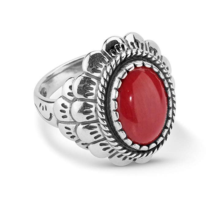 American West Sterling Silver Red Coral Oval Scallop Ring- Size 5 - Classics Collection