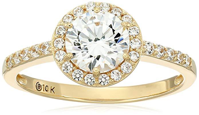 10k Gold Swarovski Zirconia Round Halo Ring