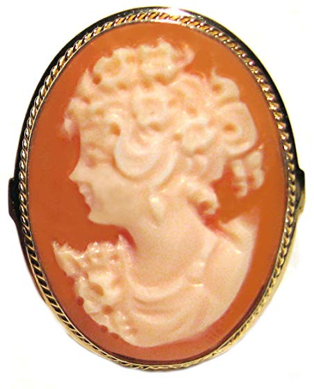 Princess Cameo Ring Carnelian Shell Sterling Silver 18k Gold Overlay Size 7.75