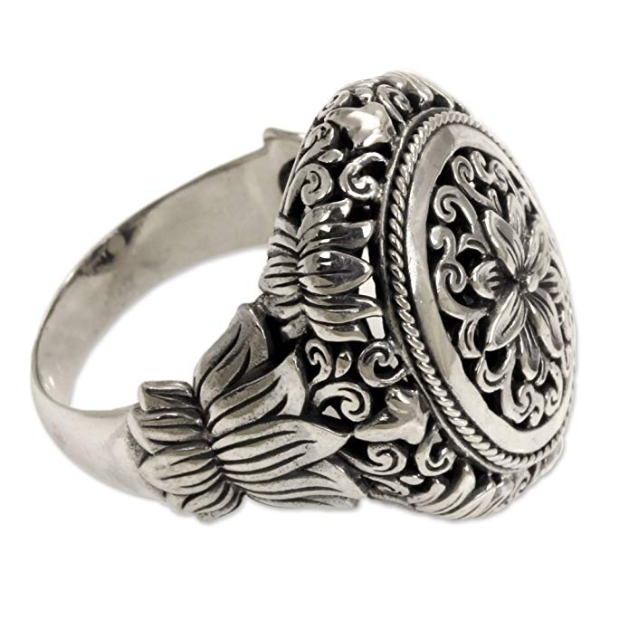 NOVICA .925 Sterling Silver Hand Made Floral Cocktail Ring, Precious Lotus'